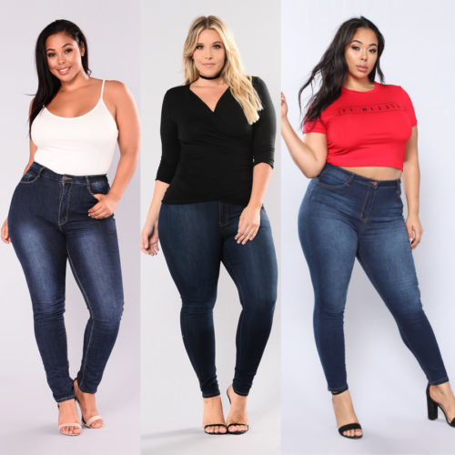 Women Plus Size Stretch Denim Skinny Jeans Pants High Waist Trousers Jeans(China)