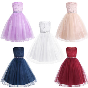 Image 2 - Girls Sleeveless Sequins Lace Mesh Flower Girl Dress Princess Pageant Ball Gown Wedding Party Dress with detachable sash SZ 2 14