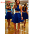 2016 vestidos de formatura 2 peças azul Royal Halter Organza com contas mangas acima do joelho menina de baile vestidos Plus Size
