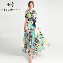 SEQINYY Elegant Long Dress 2020 Summer Spring New Fashion Design Short Sleeve Flowers Printed Vintage Light Green