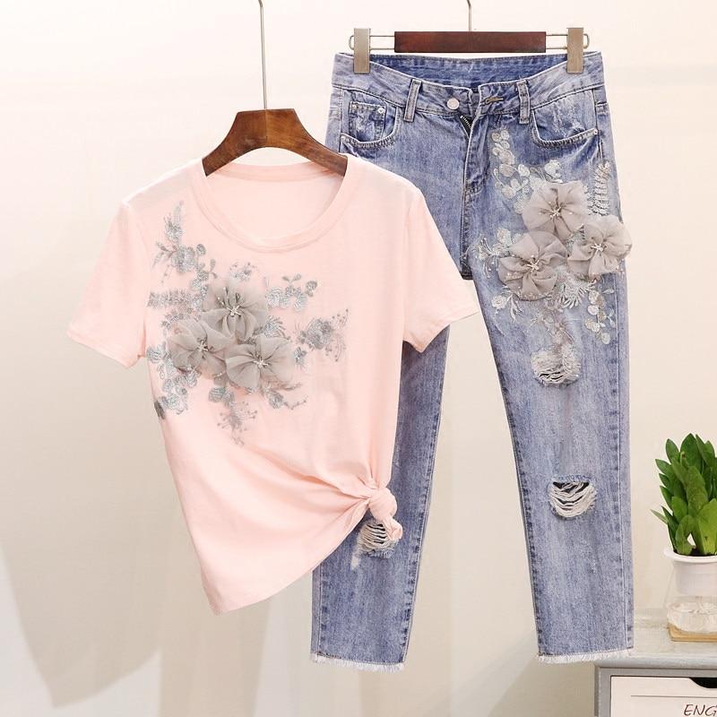 European Style 2018 Summer Gloria Jeans Suit Women's Embroidery 3d Flower Short Sleeve T - Shirt + Hole Denim Pants Set Studnet