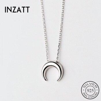 cfdb49480f8e INZATT minimalista cuerno hueco Luna colgante collar para mujer encanto plata  925 gargantilla moda personalizar joyería Bijoux 2018
