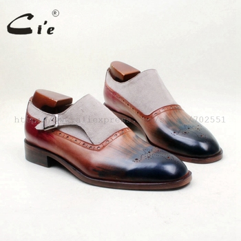 цена на cie Free Shipping Bespoke Handmade Round Toe Single Monk Staps Grey Suede Brown Patina Blue Matching Calf Leather Outsole MS154