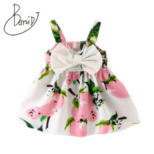 2018 Fashion Infant Kids Lemon Princess Bow Baby Girls Party Elegant Flower Child Dress 2 Color Christmas Children Beach Dresses(China)