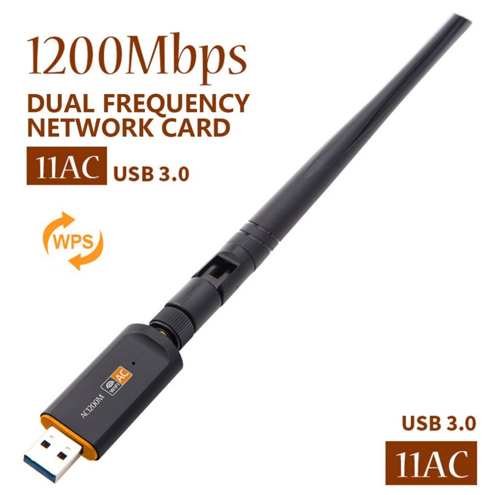 AC 1200Mbps Wireless WiFi USB Adapter Dual Band 2.4/5Ghz with Aerial 802.11AC Network Card High Speed USB3.0 Receiver image