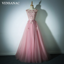 цена VENSANAC Lace Appliques O Neck Crystal Flowers A Line Long Evening Dresses 2018 Party Pearls Backless Prom Gowns