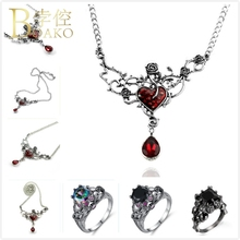 BOAKO Gothic Vintage Necklace Women Flower Crystal Retro Stone Hollow Rose Pendant Vampire Bridal Girl Z5