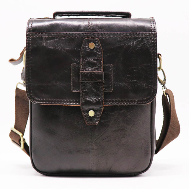 3d3ac5a5cf2 Brand Genuine Leather 8  Casual Handbag Men s Cross Body Shoulder Bags  Small Messenger Bag Male Cowhide Handle Pack For Wallet