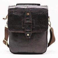 Brand Genuine Leather 8' Casual Handbag Men's Cross Body Shoulder Bags Small Messenger Bag Male Cowhide Handle Pack For Wallet
