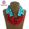 New Top Design 2 Rows Turquoise Beads Water Drop Red Coral Necklace Wedding Bridesmaid Jewelry Wholesale Free Shipping AJS109