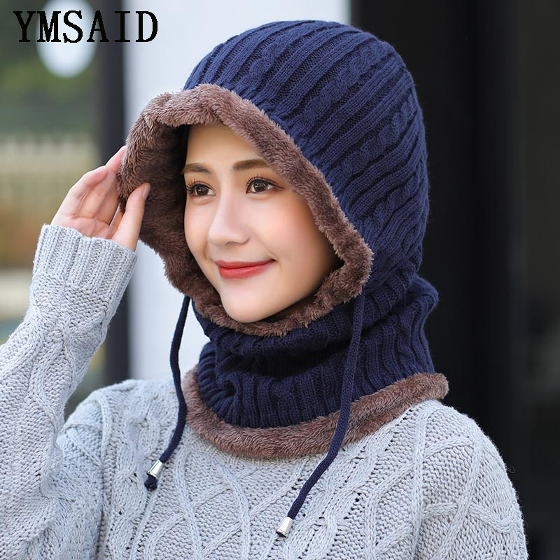 2019 Winter Wool Knitted Hat   Beanie   Men Scarf   Skullies     Beanies   Winter Hats For Women Men Caps Gorras Bonnet Mask Brand Hats
