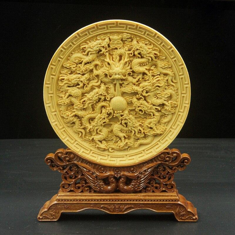 Décoration de buis sculpture Arts et artisanat ameublement cadeau trou Saints ameublement fait main œuvre cadeau chinois.