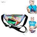 2017 Verão mulheres holograma fanny pack cintura perna da menina à prova d' água saco de praia transparente saco Bolsa de telefone Sacos Bolsa de Viagem Portátil