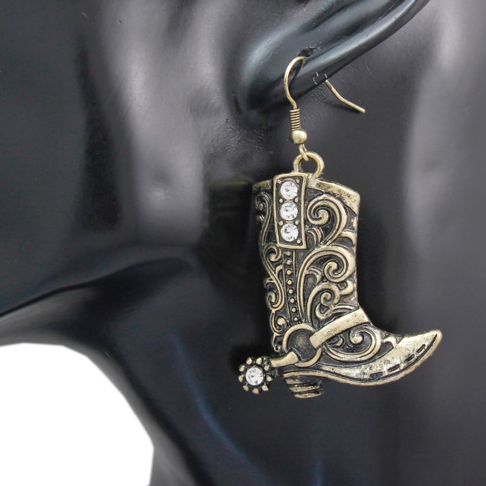 Vintage Wild West Southwestern Cowboy Boot Spur Hat Fox Coyote Dangle Earrings Sterling Silver Studs 925