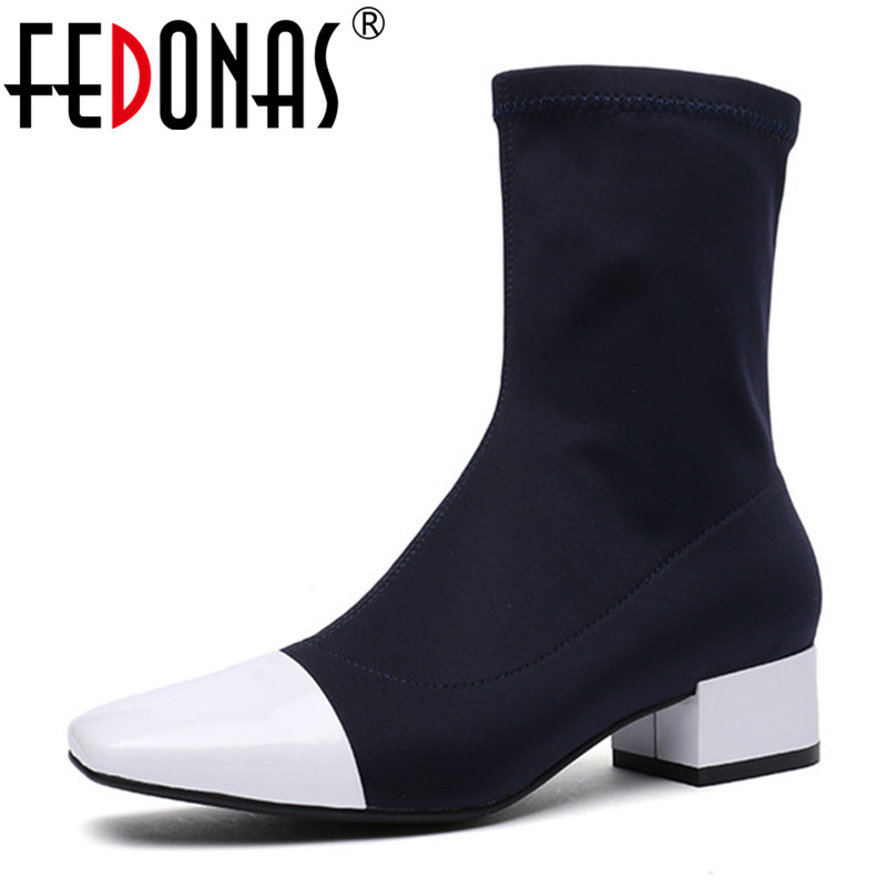 FEDONAS New Socks Boots High Heels Mid-calf Boots For Women Slim Party Dancing Shoes Woman Sexy Autumn Martin Shoes Prom Pumps fedonas 1new women mid calf boots autumn winter warm high heels shoes woman pointed toe elegant bling party prom dancing pumps