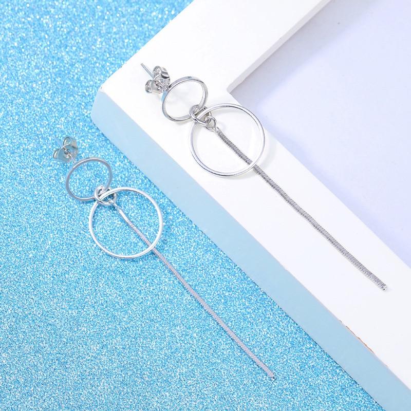 Fashion Silver 925 Drop Ear Line 2019 Jewelry Two Round Korean Statement Metal Silver Long Tassel Earrings For Women 2