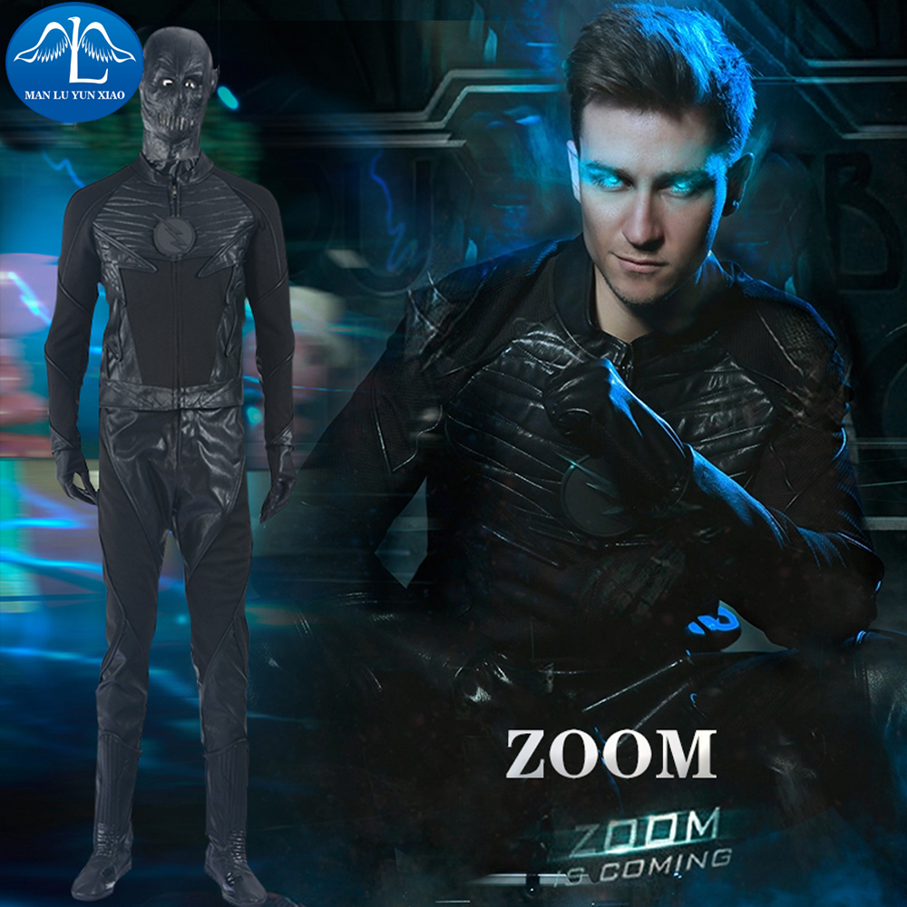 MANLUYUNXIAO The Flash Season 2 Zoom Flash Cosplay Costume Halloween Costumes Adult Men Zoom Costume Men Full Set Custom Made
