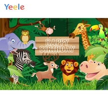 Yeele Cartoon Animals Forest Tree Baby Birthday Party Photography Backdrop Children Zoo Photographic Background Photo Studio