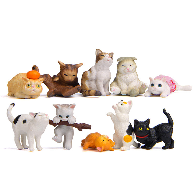 10pcs/lot  Cosplay Cat Figure Toys Resin Japanes Kawai Corgi Action Figure Collection Model Toy Gift for Home Decoration