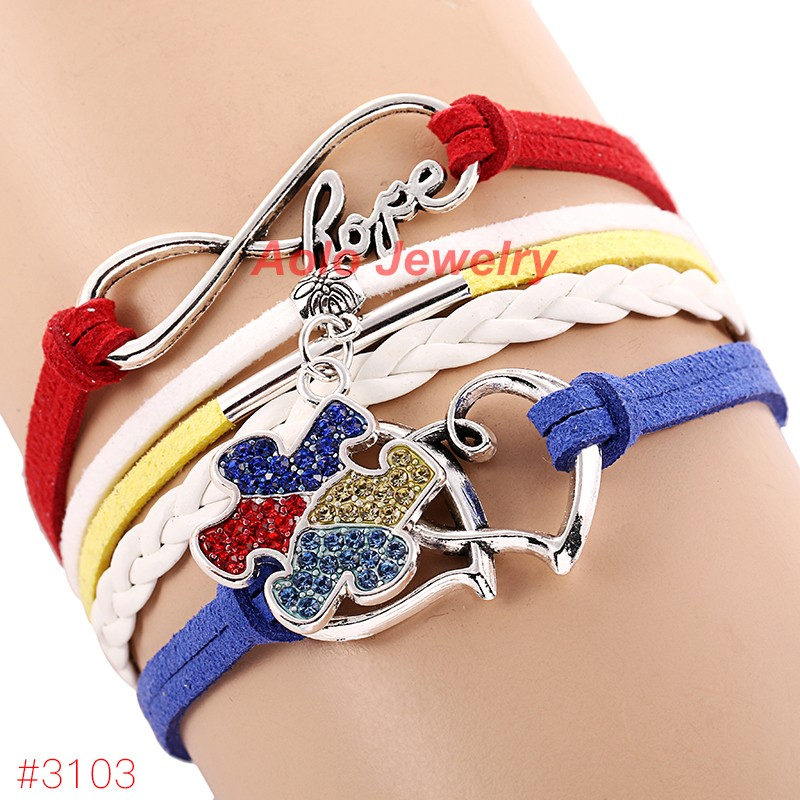 Fashion Autism Awareness Bracelet Infinity Hope Rhinestone Puzzle Piece Charm Drop Shipping In Bracelets From Jewelry Accessories On