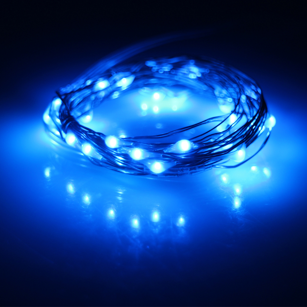 2m / 20Leds 3m / 30Leds Copper Wire Button Cell Battery Powered Led - Pencahayaan perayaan - Foto 4