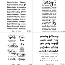 AZSG Various Blessings/Wishes/Lovelorn/Calendar Word Clear Stamps For DIY Scrapbooking/Album Decorative Silicone Stamp Crafts