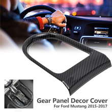 ABS Auto Car Styling Carbon fiber Gear Panel Decor Cover Sticker Case for Ford for Mustang 2015-2017 Interior Accessories