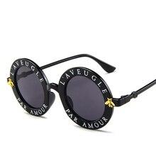 880eff3305408 Ronde Lady lunettes de Soleil Anglais Lettre Abeille 2018 Marque Designer De  Luxe Dames lunettes de Soleil Pour Les Femmes lunet.