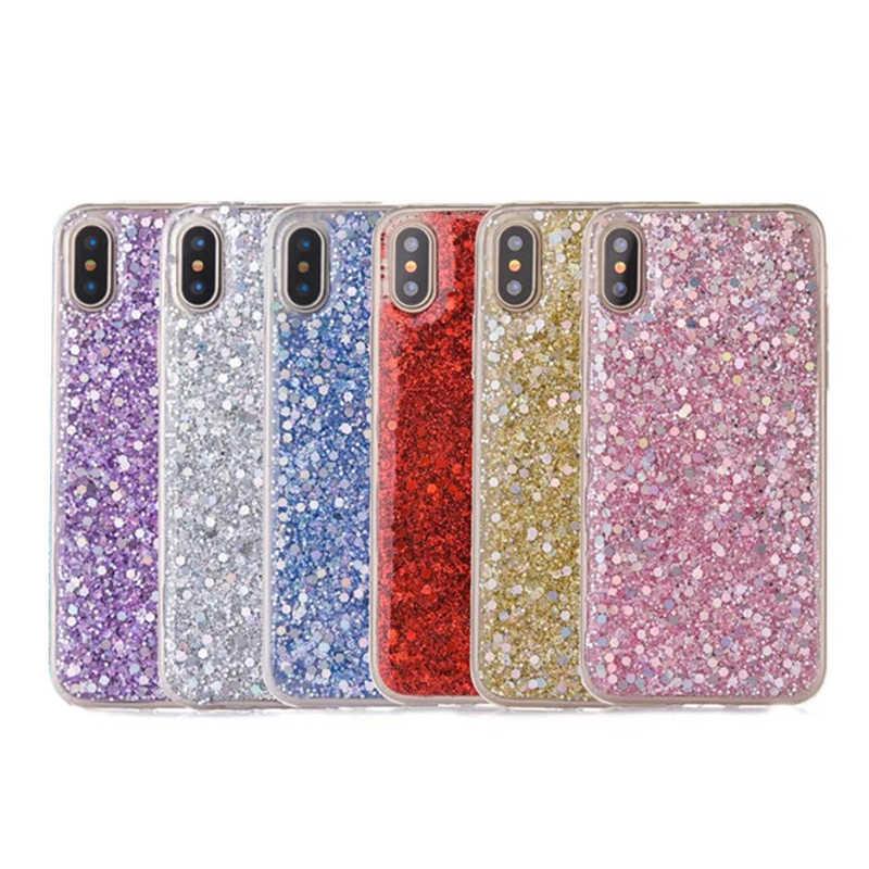 Manque Bling brillant poudre paillettes coque de téléphone pour iphone 11 11Pro Max XS Max XR X 6 6S 7 8 Plus Capa coloré paillettes housse