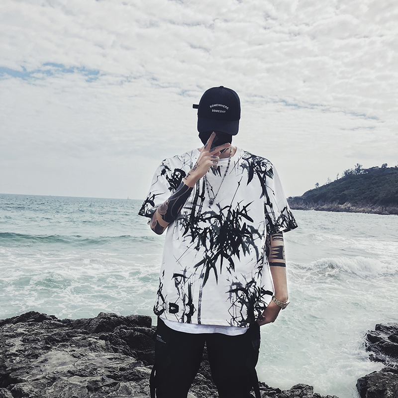 Dropshipping 2019 summer new bamboo splash ink Chinese painting short-sleeved shirt hip-hop oversized couple men women T-shirt 26