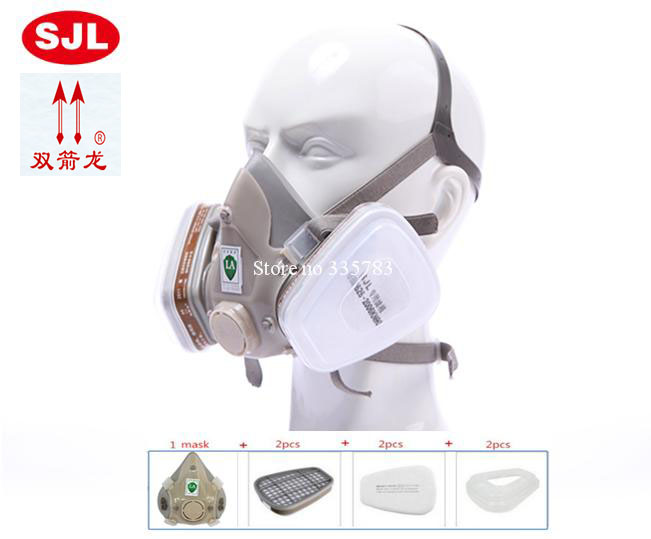 filter mask Formaldehyde Pesticide Double Tank Gas Spray Paint Chemical Dust Silicone Protective Respirators Respirator Gas Mask 37502respirator face gas mask painted activated carbon dust tight smoke proof chemical pesticide formaldehyde dust mask