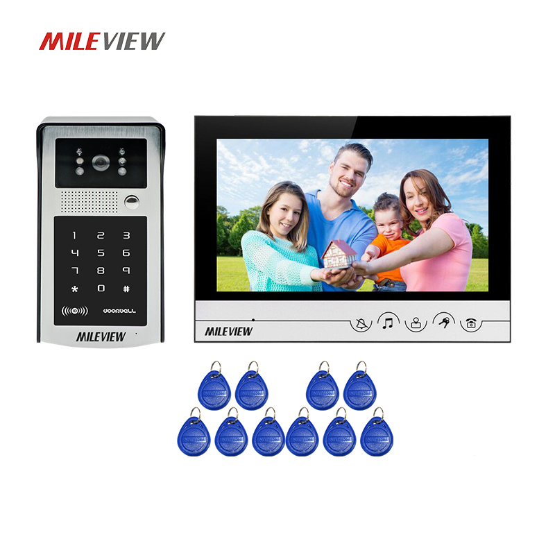 Free Shipping NEW 9 inch Color LCD Screen Video Door Phone Intercom System + Waterproof RFID Code Keypad Access Doorbell Camera sv85 36mm 0 84w 80lm 8000k 8x3528 white led car license plate dome tail door light bulbs pair