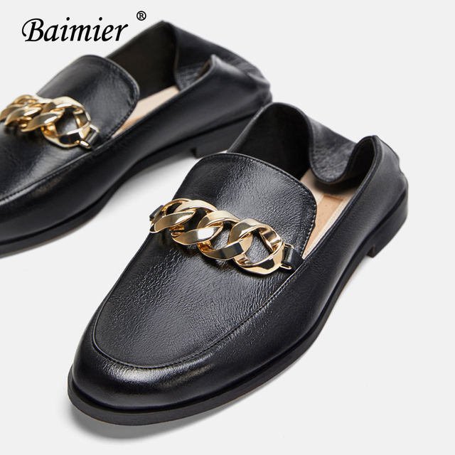 10ed78f443d Baimier Autumn Gold Chain Oxford Shoes For Women Black Leather Women Loafers  Slip On Women Oxfords Brand Design Flat Shoes Woman