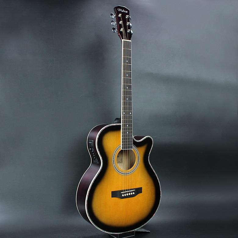 Gitarre Akustisch Elektrische Steel-String Flattop Balladry Folk Pop 40 Zoll Guitarra 6 Saite Gelb Hell Cutaway Electro