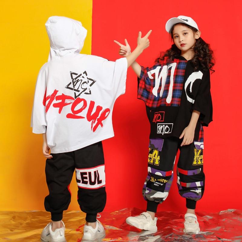 Girls Boys Outwear Tshirt Hoodie Jogger Pants T Shirt Hip Hop Clothing Jazz Dance Costumes Kids Concert Ballroom Dancing Clothes