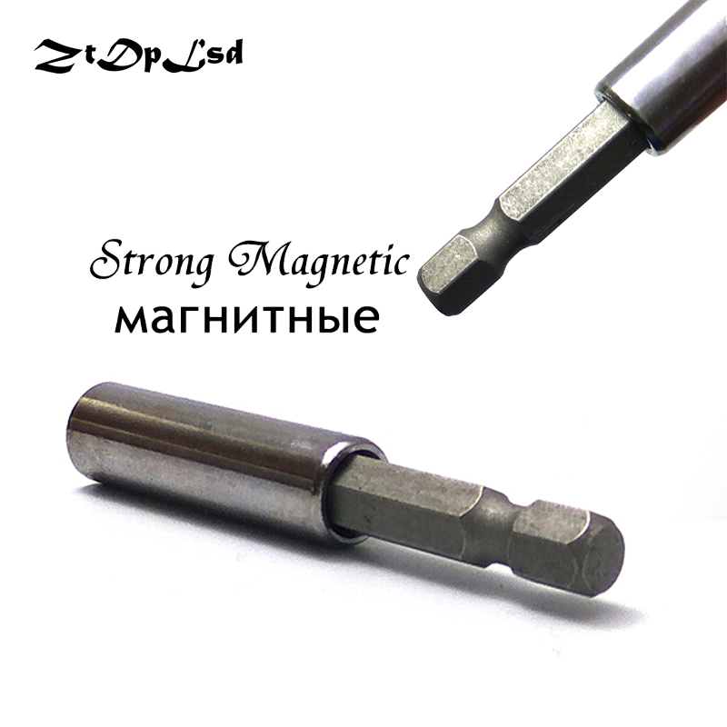ZtDpLsd 1/4 6.35MM Magnetic Extension Extend Socket Screw Bits Holder Screwdriver Bar Rod for Cordless Drill Power Tools 55MM steelie magnetic tablet socket