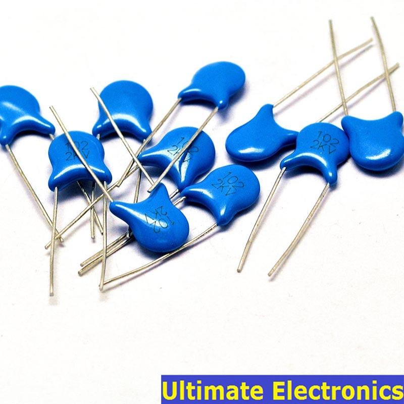 100pcs 1nF 102 2KV 1000pF 2000V High Voltage Ceramic Disc Capacitor