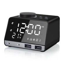 Беспроводной Bluetooth бас динамик FM радио зеркало светодиодный двойной будильник USB зарядное устройство