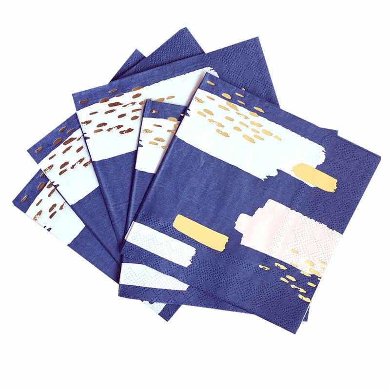 O Envio gratuito de Conjuntos de Talheres Descartáveis Folha de Ouro Azul Marinho 8 Copos de Chapas de Guardanapos de Papel para Fontes do Partido de Aniversário Do Chuveiro de Bebê