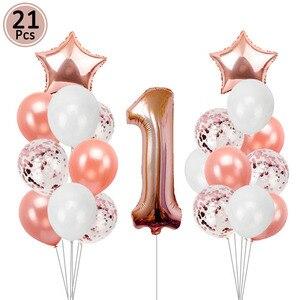 Image 3 - Cartel de Globo de oro rosa de primer cumpleaños para niños y niñas decoración de fiesta de 1 año, guirnalda para niños y niñas, suministros azules