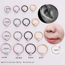 Sellsets 4pcs / set white black gold rainbow steel hoop earring daith tragus lip rook cartilage nose body piercing jewelry(China)