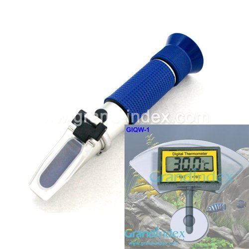 Bundling selling hand held Salinity refractometer RHS-28ATC and digital aquarium thermometer GIQW-1