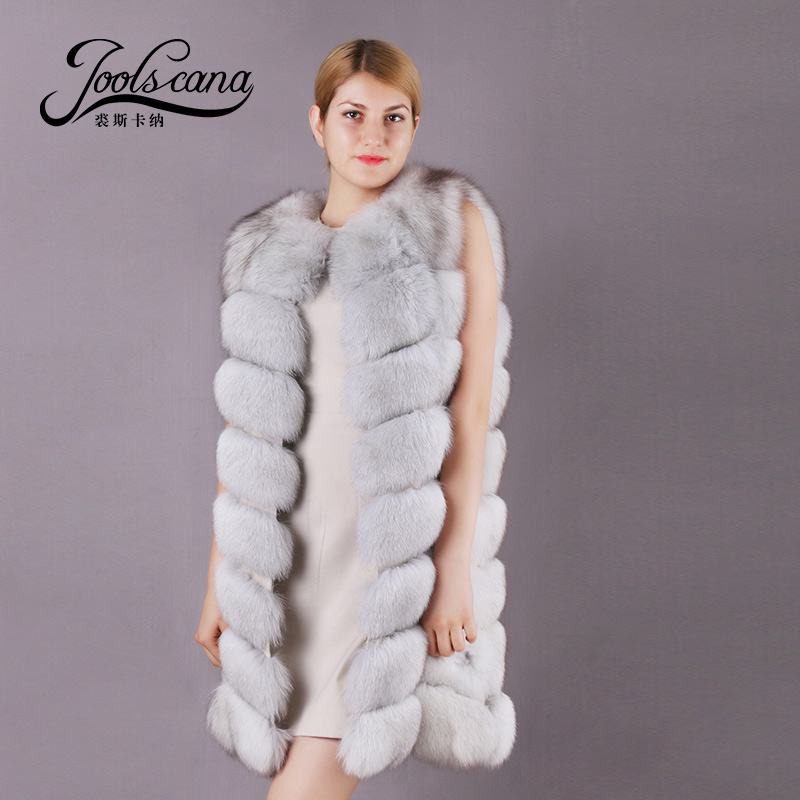 Joolscana real fur long vest natural fox winter sleeveless jacket fox fur coat vest 2017 brand Russia style women warm fur vest