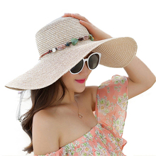 Hot women big brim sun hats foldable colorful stone hand made straw hat female summer hat casual shade cap beach hat