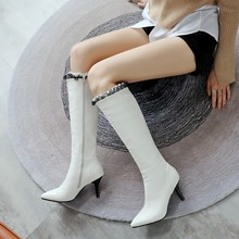 Big Size 11 12 13 14 15 16 17 Tip Fine heeled High heeled Flower Coloured Side Zipper and Knight Boots with Knee in Knee