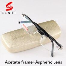 Acetate Frame Half Reading Glasses Men Black Women Eyeglasses Fashion Aspherical Resin Lens Reader Male Glasses for Elderly 1346