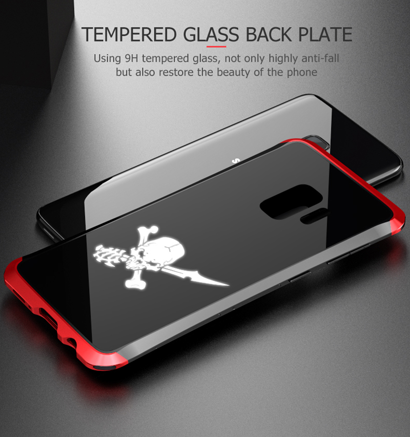 LUPHIE NFC LED Flash Case For Samsung S9 Metal Transparent Bumper Tempered Glass Back Cover(5)