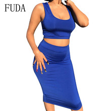FUDA 2 pieces sets vest crop top and slim pencil dress sexy sleeveless bodycon women summer Casual Style Streetwear Dress