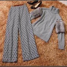 European Runway 2017 Spring New Fashion Patchwork Real Rabbit Fur Long Sleeve Turtlenecks Sweater + Polka Dot Printing Pants