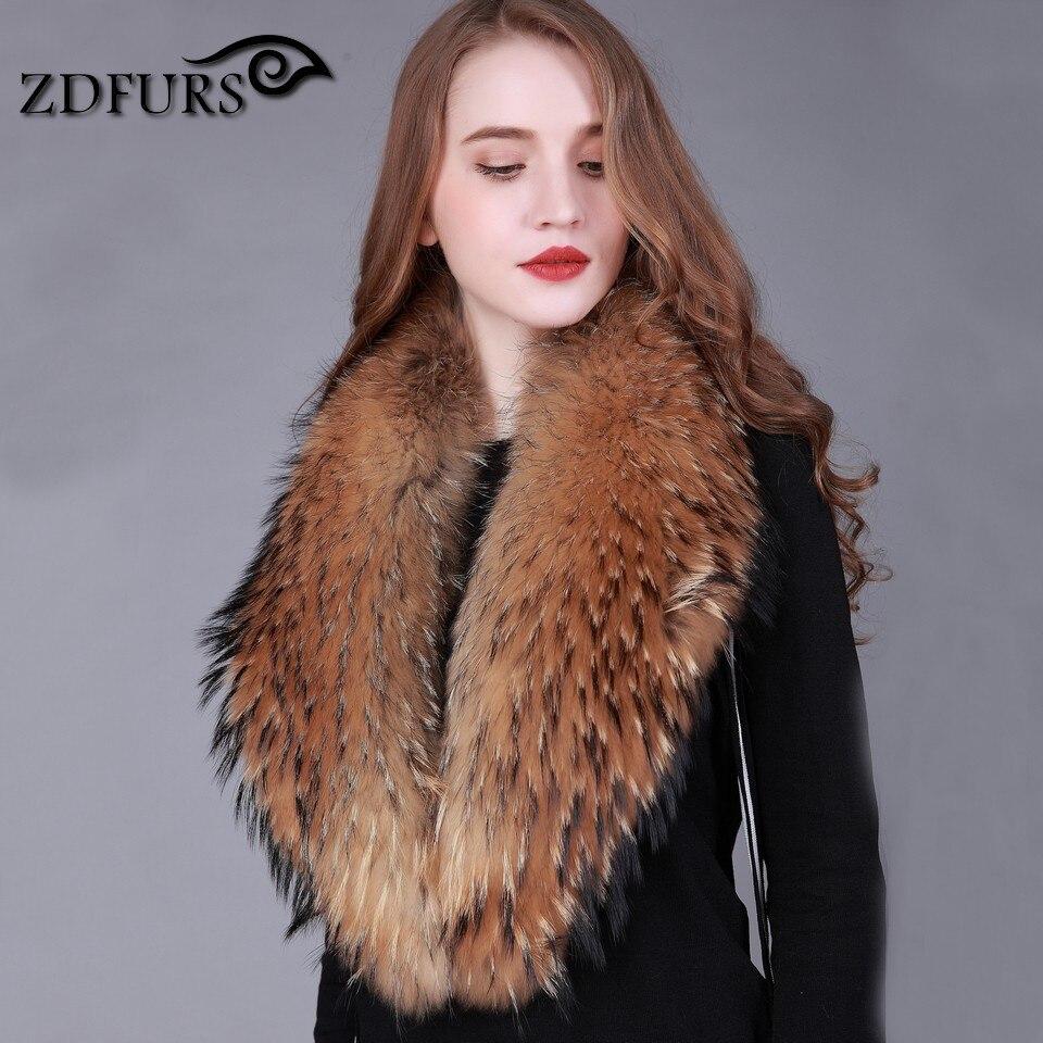 ZDFURS * Zimski 100% pravi naravni rakunast krzneni ovratnik ženski - Oblačilni dodatki - Fotografija 3